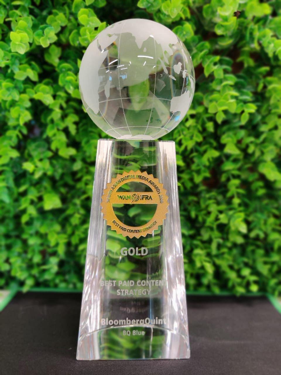 BloombergQuint wins Gold at South Asian Digital Media Awards 2020