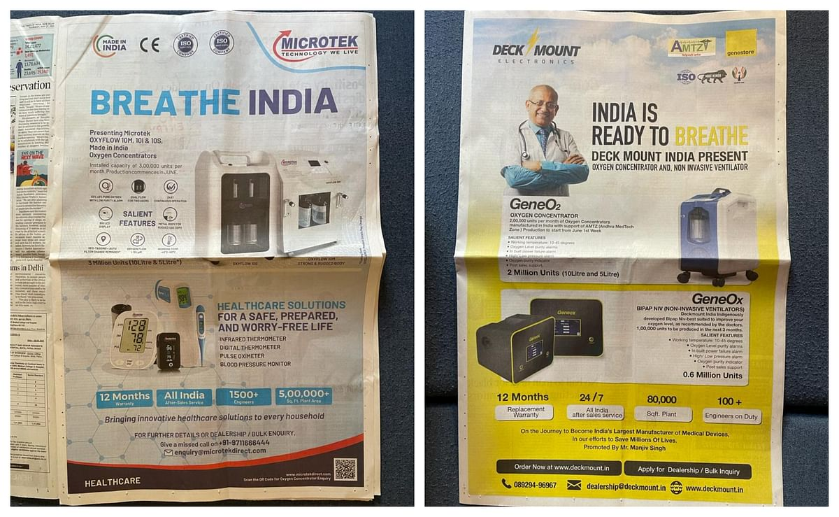 Ads for oxygen concentrators by Microtek and Deck Mount.