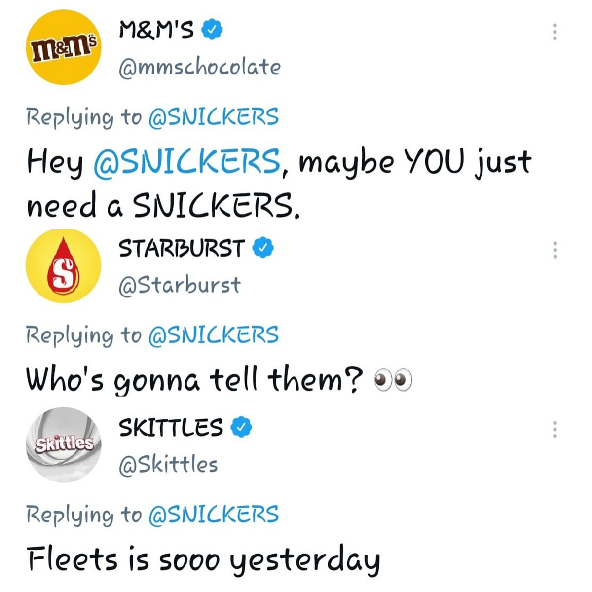 Offering sweepstakes on Twitter's Fleets, Snickers makes the most of the dying feature