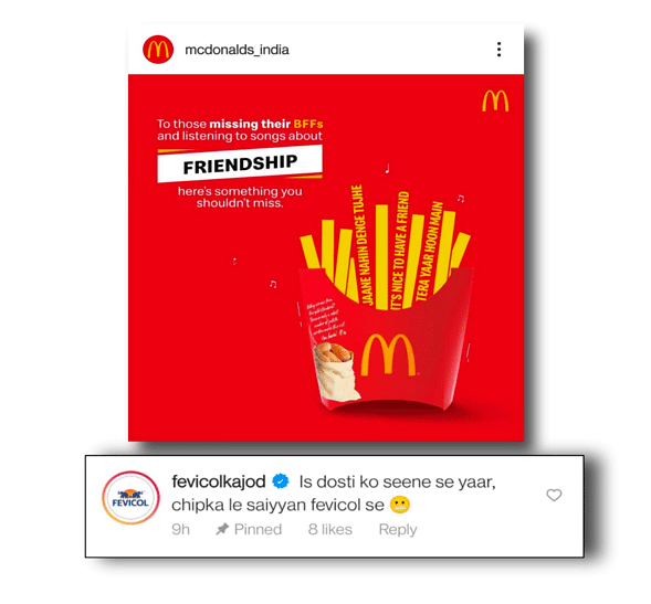 McDonald's post with Fevicol's pinned comment