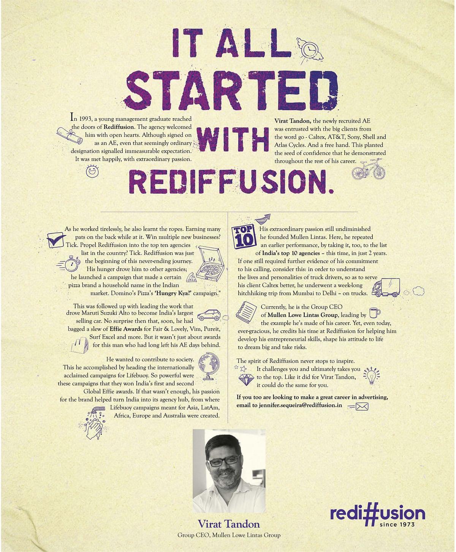 When MullenLowe Lintas CEO Virat Tandon starred in a Rediffusion ad