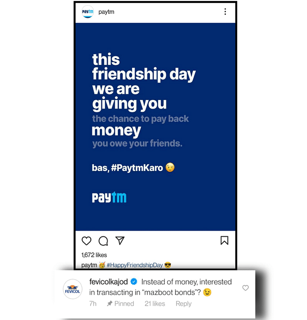Fevicol's comment on Paytm's post