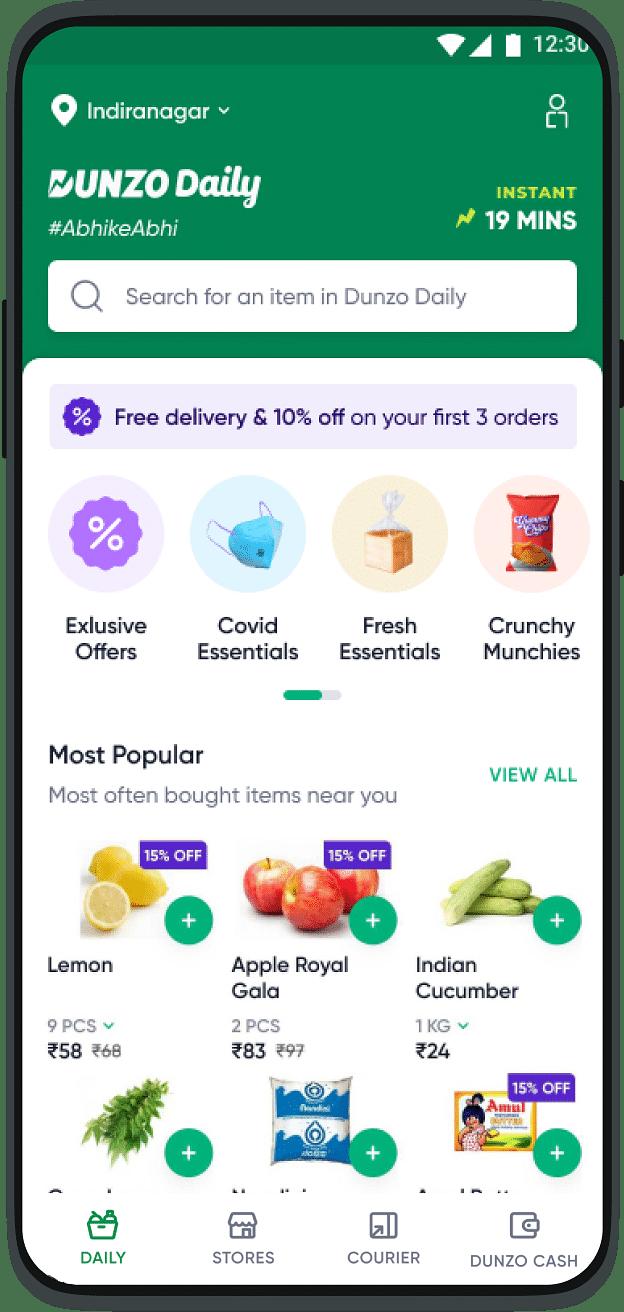 Dunzo Daily app interface