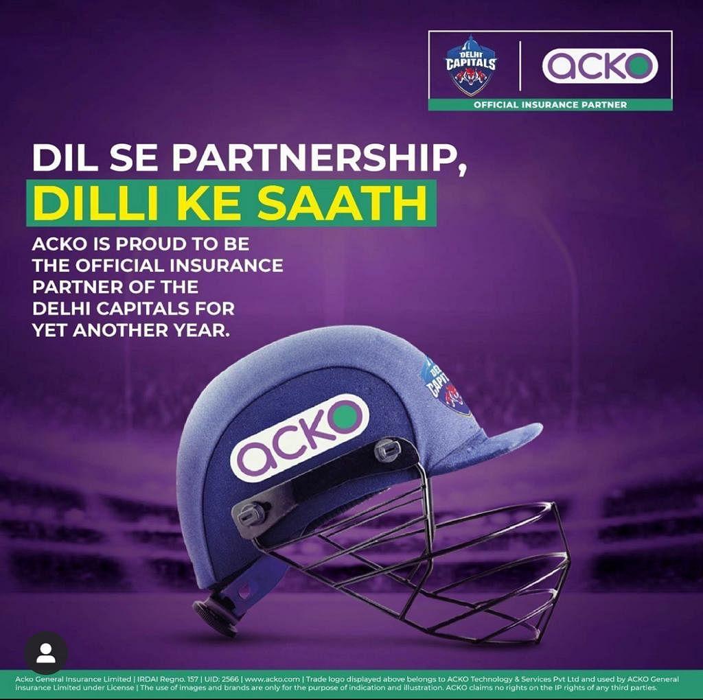 Delhi Capitals helmet with ACKO branding