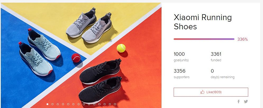 Screenshot of the crowdfunded Xiaomi running shoes