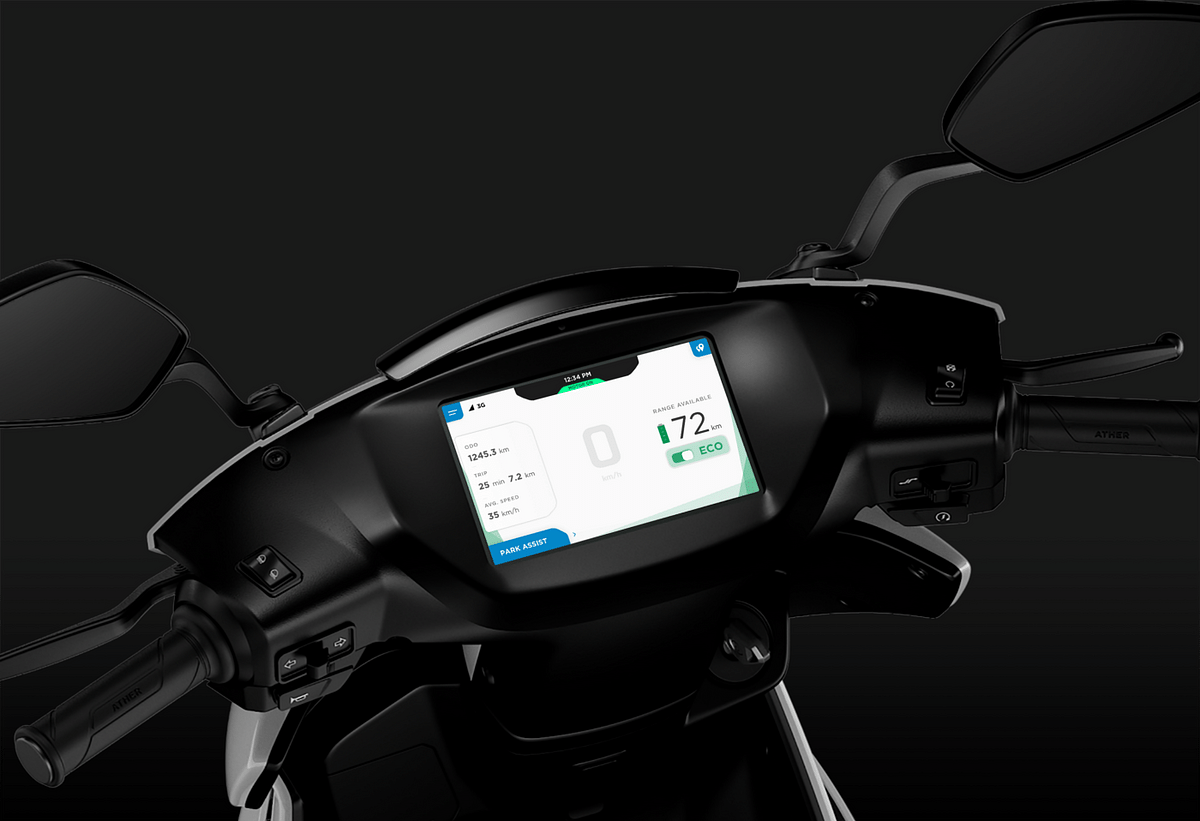 Ather's electric bike display at a glance