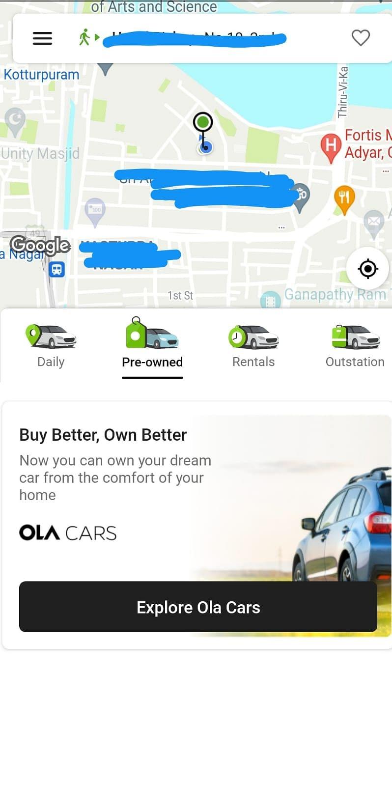 A screenshot of the Ola app