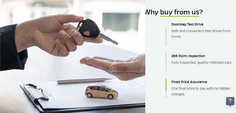 A screenshot from the Ola Cars website
