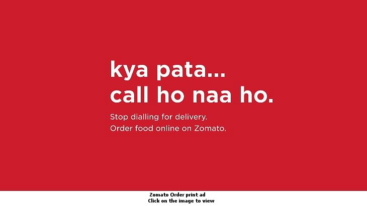 Stop dialling, order online, says Zomato in quirky print ad