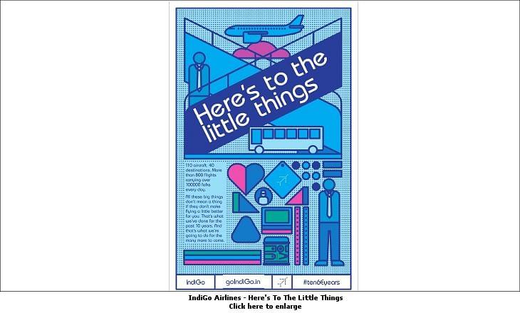 afaqs! Creative Showcase: IndiGo Airlines flaunts #ten6Eyears in print campaign