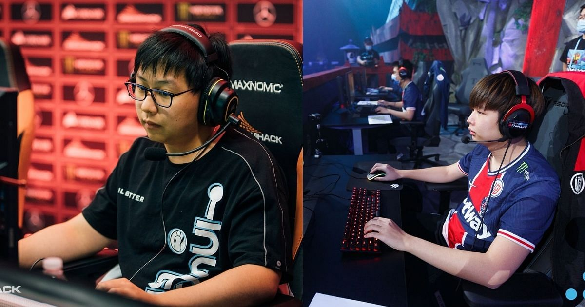 Invictus Gaming's Oli (left) and PSG.LGD's NothingToSay (right)