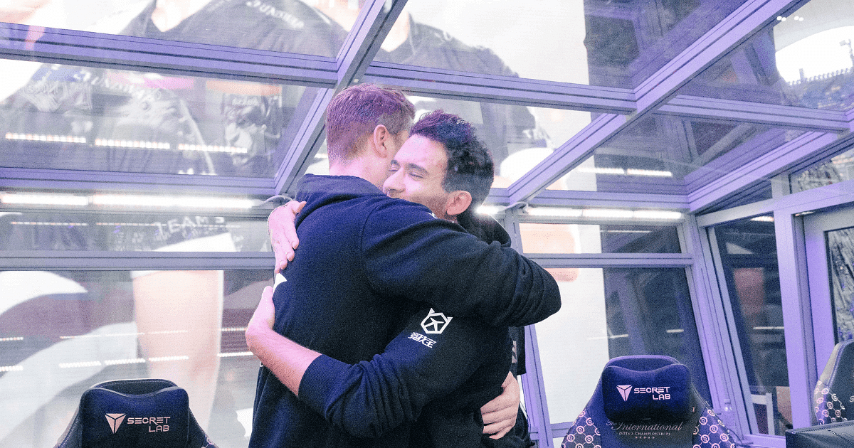 Team Secret, among other teams celebrate their wins in the first day of TI10 Main Event.