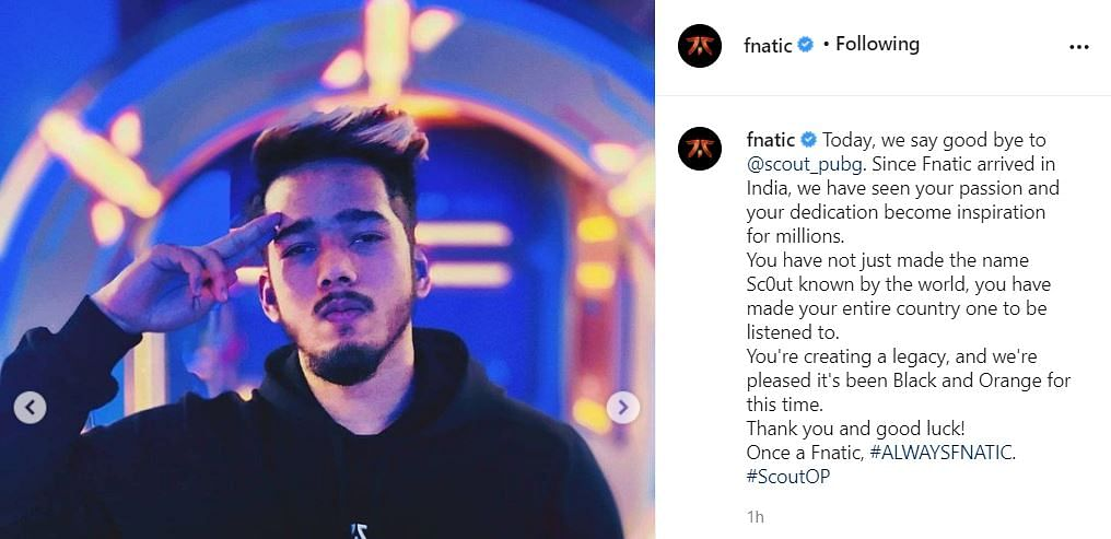 Indian PUBG Mobile Star ScoutOP Parts Ways With Fnatic