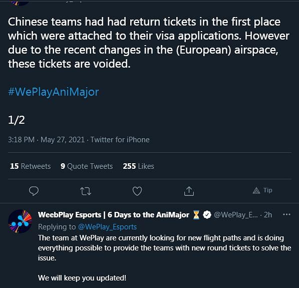 WePlay Esports Arranges Private Flight For Chinese Teams Competing at the AniMajor