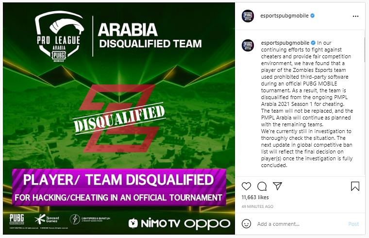Zombies Esports Disqualified From PMPL Arabia 2021 Season 1 For Hacking/Cheating