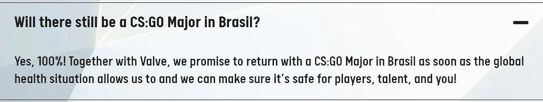 Valve Might Host Just One CS:GO Major in 2021, Won't Return to Brazil