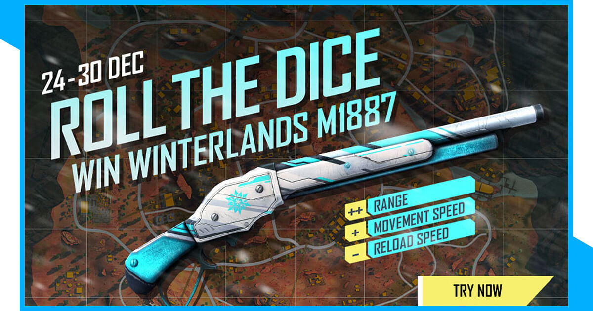 Free Fire: Obtain Winterlands M1887 in Roll the Dice Event