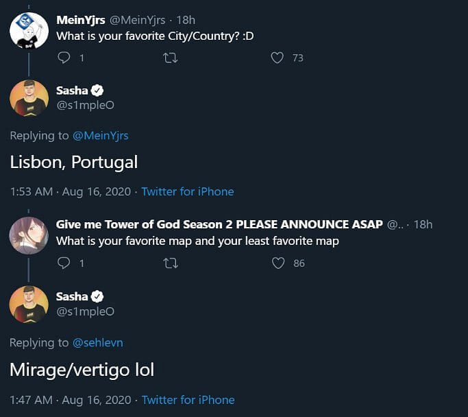 """""""Might Join 100 Thieves"""" - S1mple Jokes About Playing With Hiko on Twitter"""