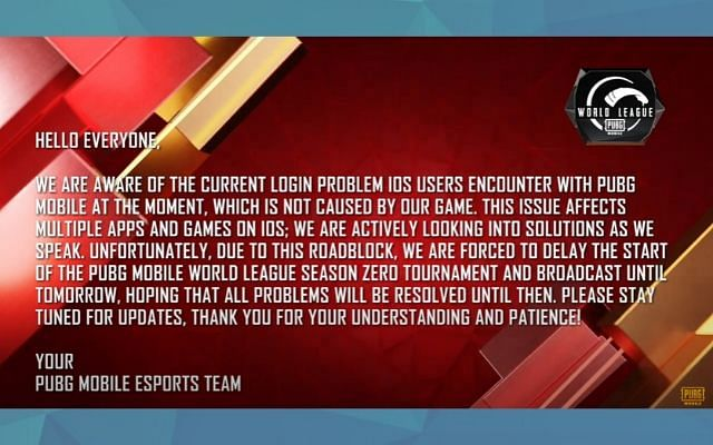 PUBG Mobile World League Postponed Due To iOS Issues