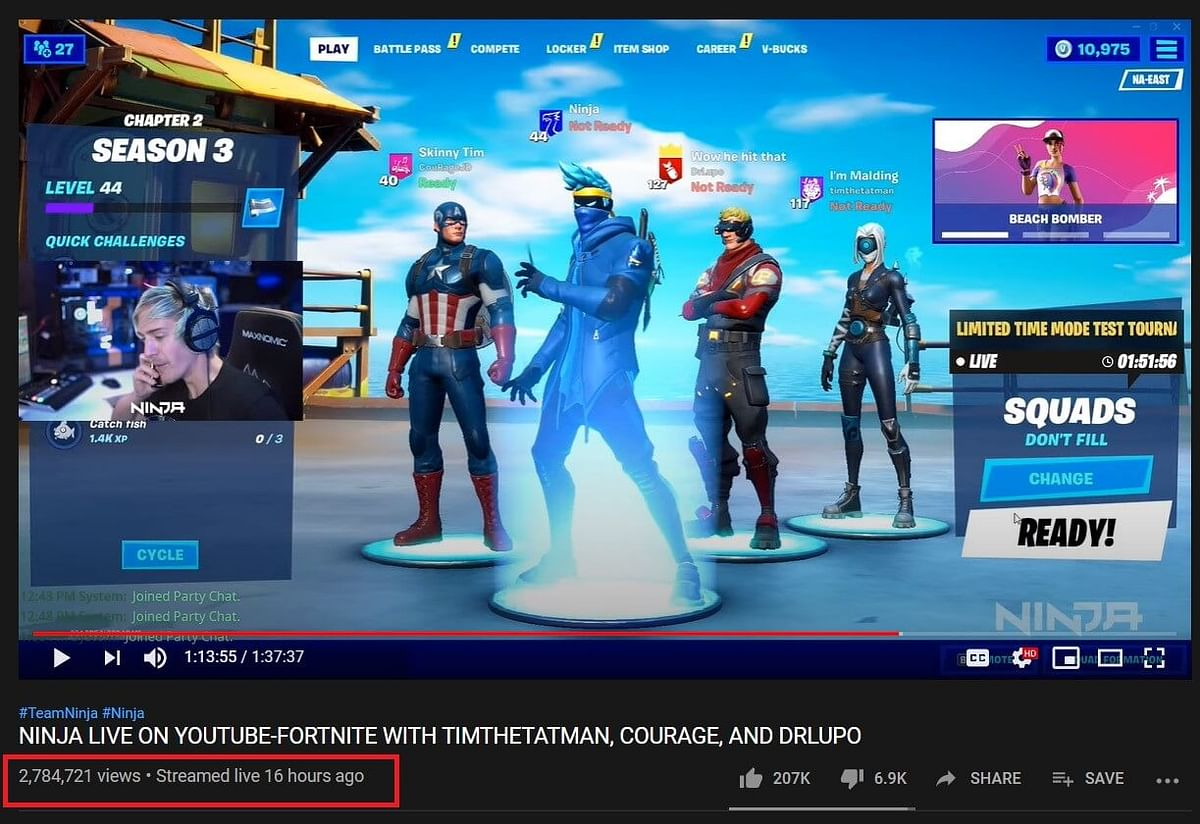 Ninja Almost Doubles Viewership In First YouTube Stream