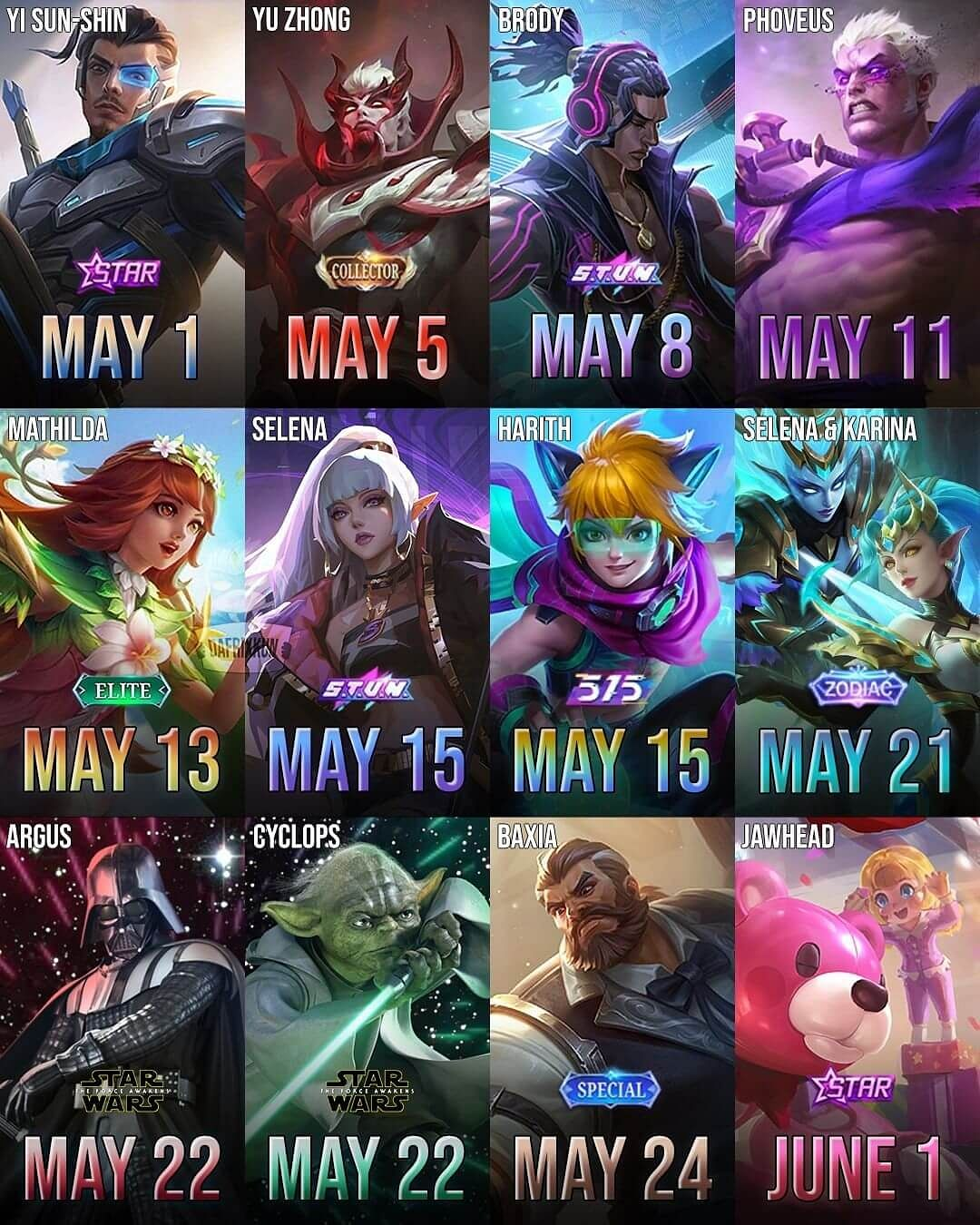 Upcoming Mobile Legends Skins for May 2021 Leaked