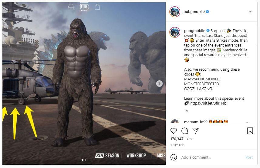 PUBG Mobile: Godzilla vs Kong Redeem Codes