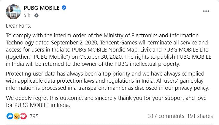 PUBG Mobile India To Shut Down Access To Users In India