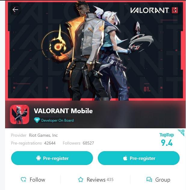 Valorant Mobile Pre-Registration Listed on TapTap