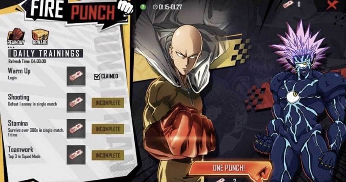 Leaked: Upcoming Events in Free Fire x One Punch Man Collab