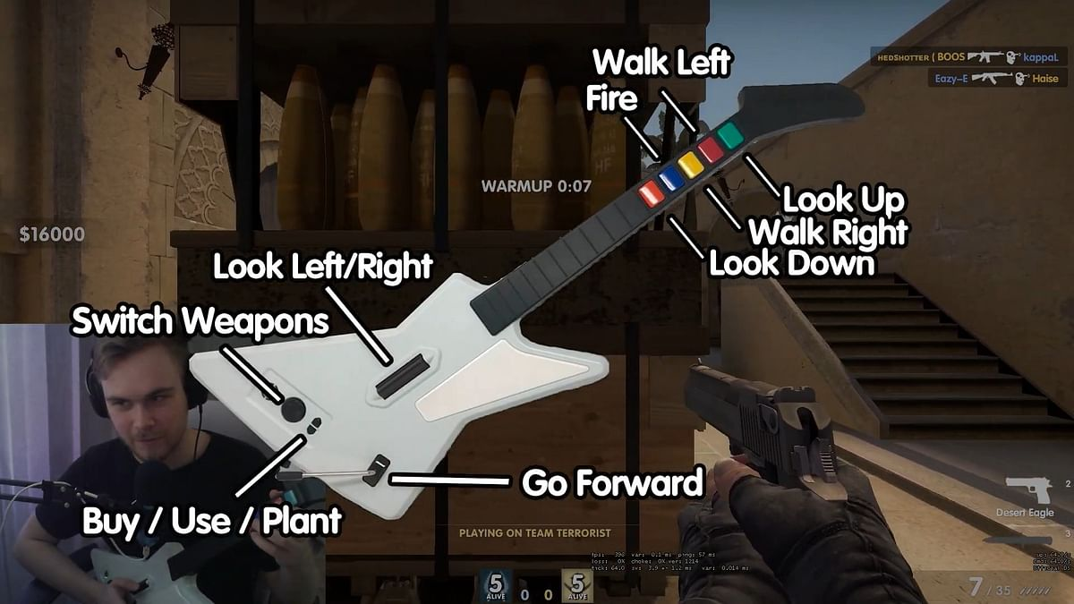 Finnish YouTuber Plays CS:GO With a Guitar Shaped Controller