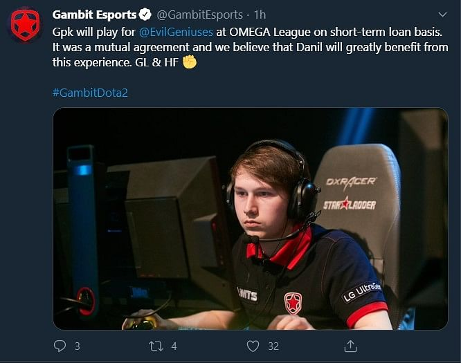 CIS Player gpk To Stand-In For Evil Geniuses