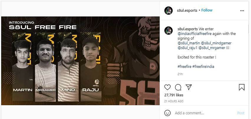 S8UL Esports Reveals Free Fire Roster