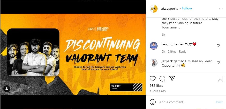 XTZ Esports Discontinues its Valorant Roster Within Three Months of Signing
