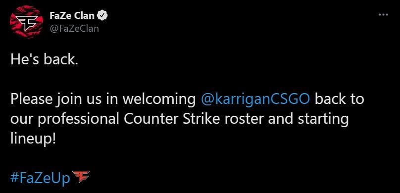Karrigan Leaves Mousesports, Returns to FaZe Clan as Their IGL