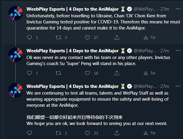 IG Oli to Miss WePlay AniMajor After Contracting COVID-19