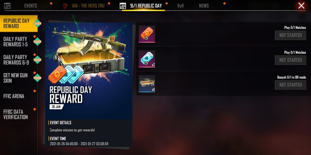 Free Fire Republic Day Party to Giveaway Characters and Gun Skins for Free