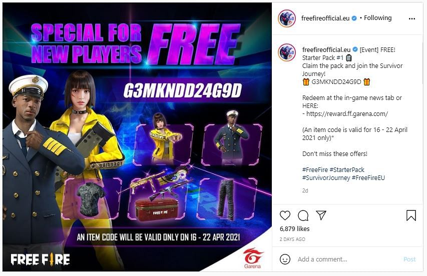 Free Fire Redeem Code for April 18th