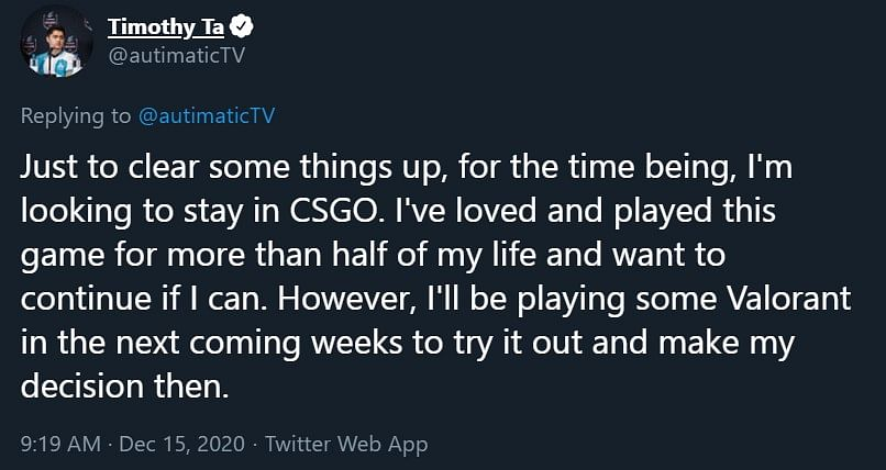 Autimatic Teases CS:GO Community With Possible Valorant Move