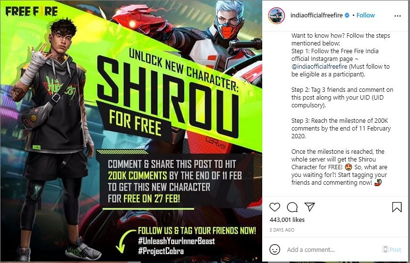 Get Shirou Character For Free in Free Fire