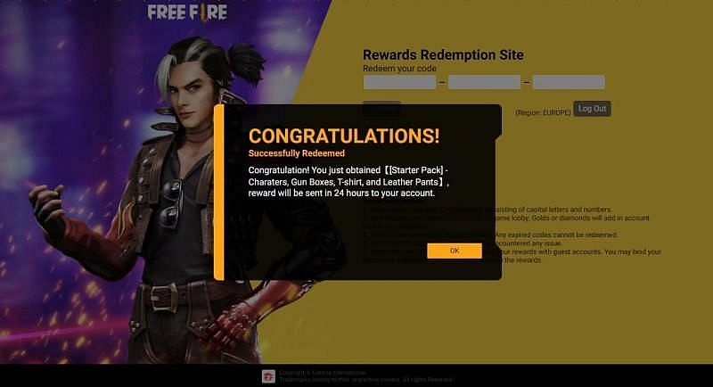 Free Fire Redeem Code for May 19