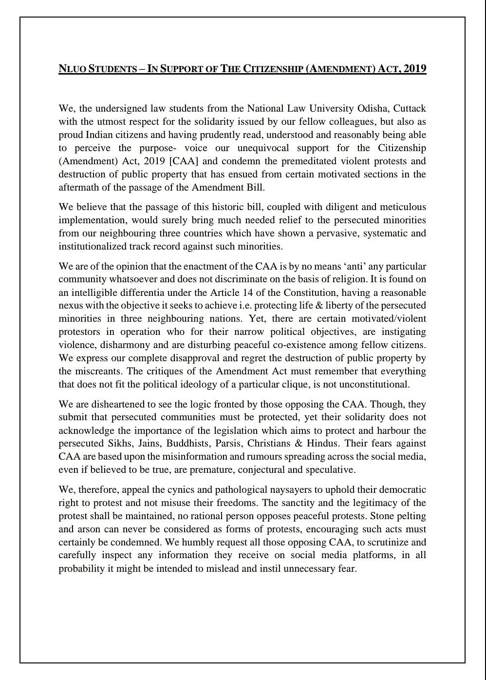 NLU O statement in support of CAA
