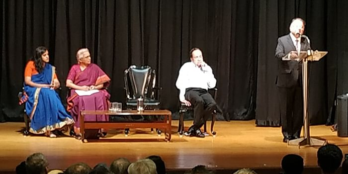 Justice (retd.) AP Shah (far right) speaking at the event