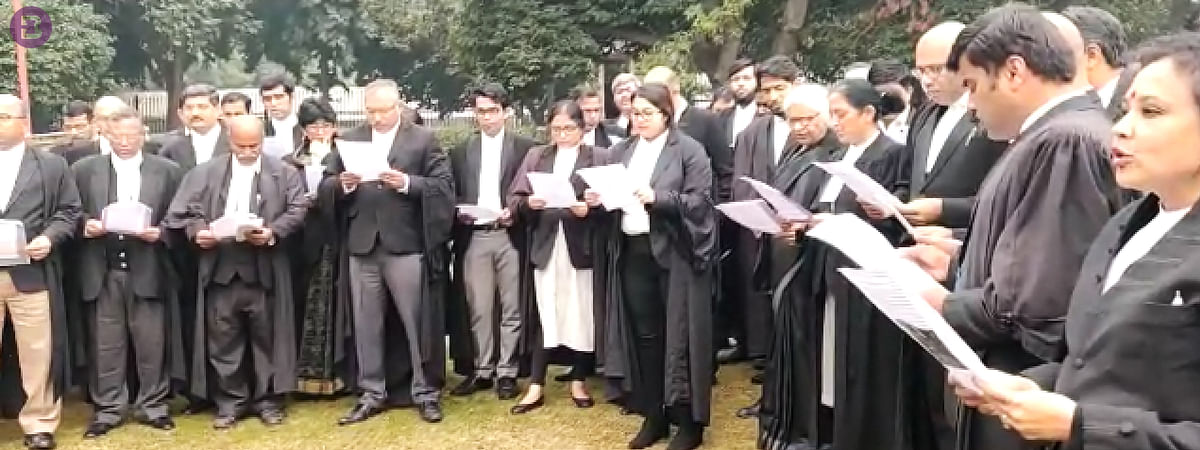 Supreme Court lawyers reading Preamble to the Constitution of India back in January 2020, in the backdrop of CAA 2019 protests