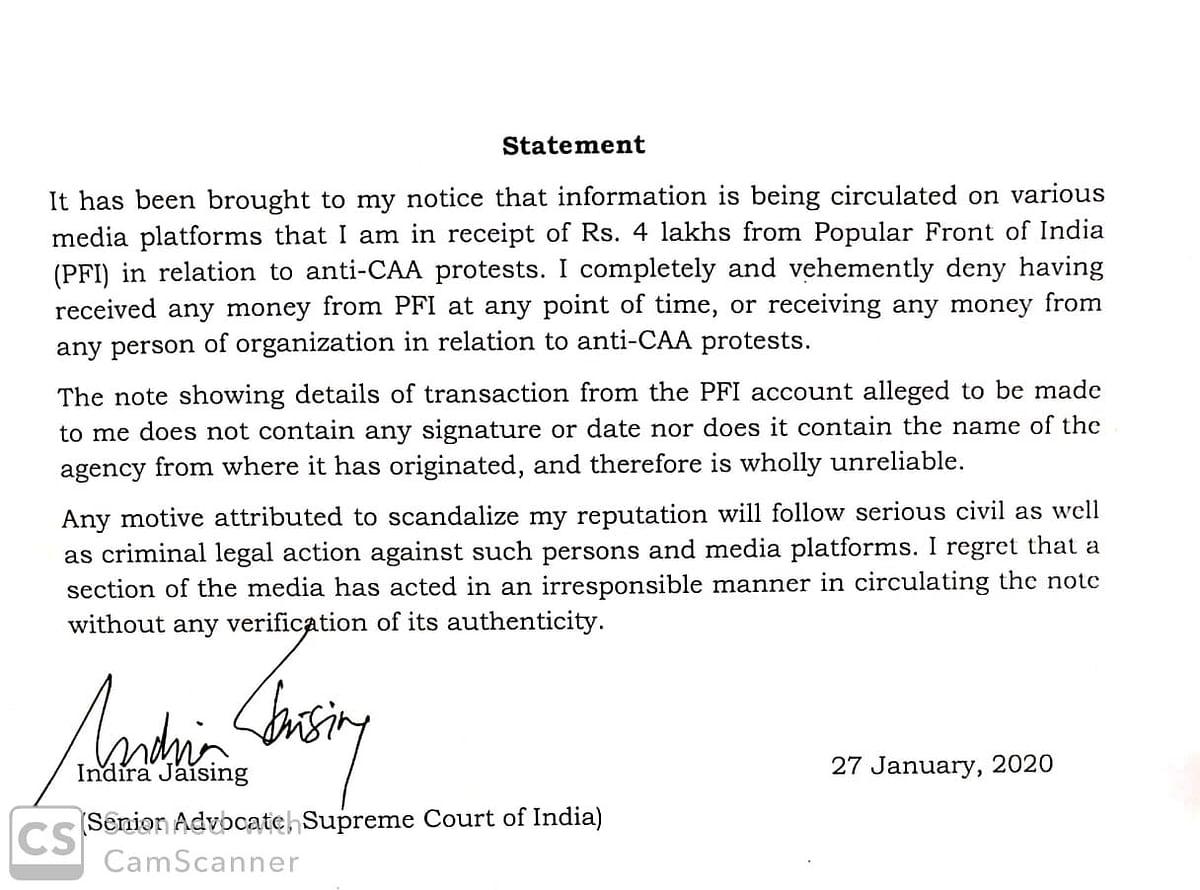 Indira Jaising statement