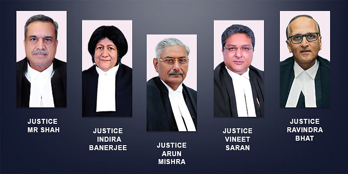 Justices Arun Mishra, Indira Banerjee, Vineet Saran, MR Shah, and Ravindra Bhat