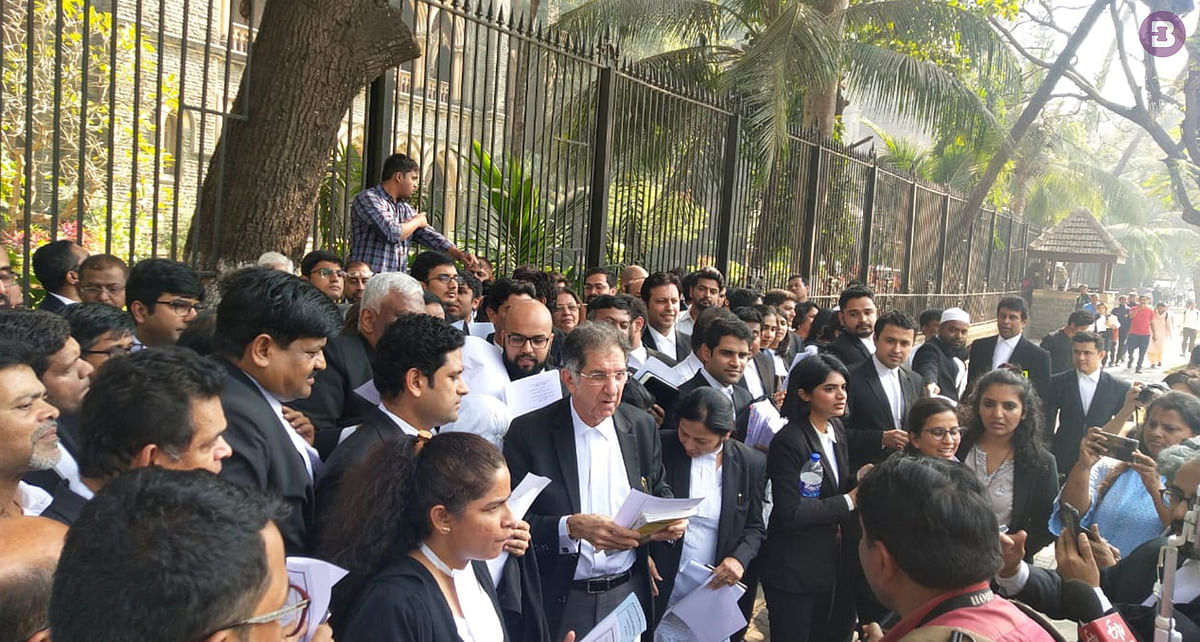 Lawyers reciting the Preamble to the Constitution of India outside the Bombay High Court
