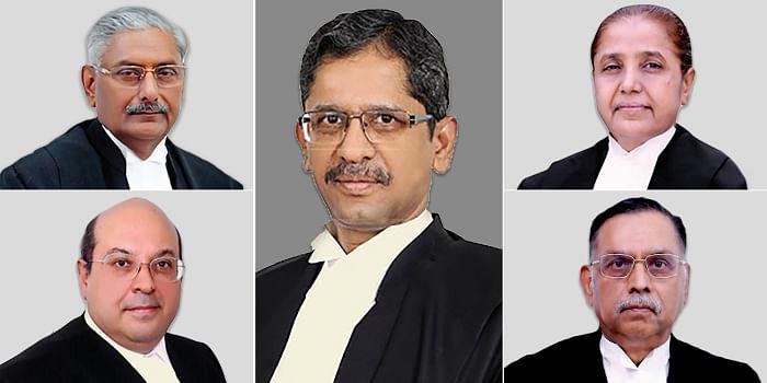 Justices NV Ramana (centre), Arun Mishra (top left), RF Nariman (bottom left), R Banumathi (top right) and Ashok Bhushan (bottom right)
