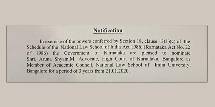 Notification regarding nomination of Advocate Aruna Shyam M as a member of the NLSIU Academic Council