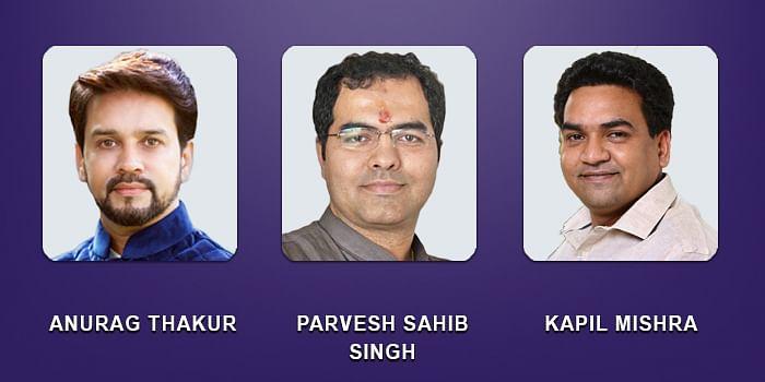 Kapil Mishra, Anurag Thakur and Parvesh Sahib Singh