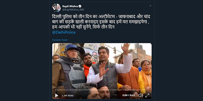 Kapil Mishra's tweet dated February 23, referred to by the applicants